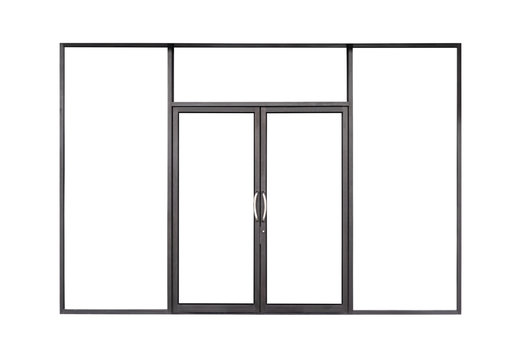 Real modern black store front double glass door window frame isolated on white background