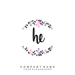 Fototapeta letter HE surrounded by beautiful and elegant flowers and leaves. Wedding monogram logo template. Fashion Logo template Vectors, obraz