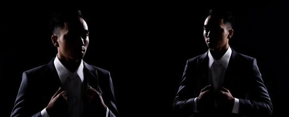 Group Pack Collage of Portrait 20s Asian Business Man under studio lighting low exposure backlit silhouette dark background, Male in Proper Gray Suit pose many action in Shadow