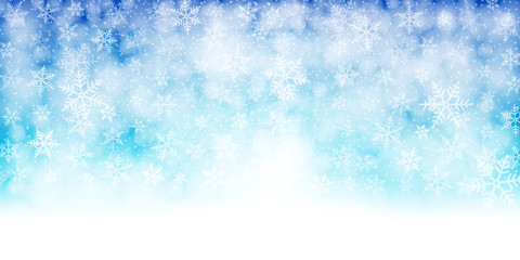 Christmas banner. Background xmas design of white snowflakes, Horizontal christmas background, greeting cards, website, blank space for text.