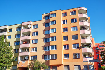 Colorful apartment buildings from the seventies seen in Berlin, Germany