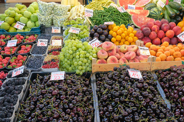 Cherries and other fruits for sale at a market