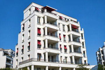 Modern white apartment house in the Prenzlauer Berg district in Berlin