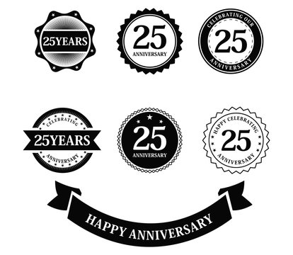 Set of anniversary. 25 years birthday logo label. Isolated on white background - Vector