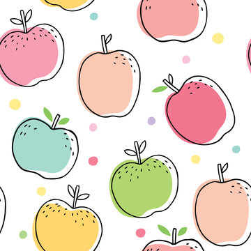 Cute sweet apples seamless pattern vector.