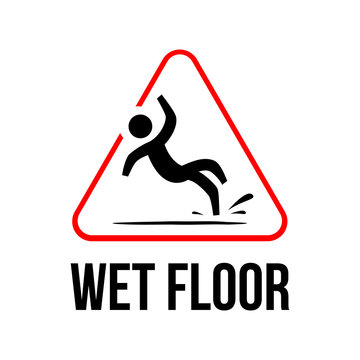 Wet Floor logo sign vector yellow triangle with falling man illustration