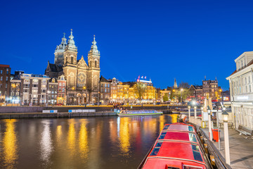 Wall Mural - Amsterdam skyline with landmark buidings and canal in Amsterdam city, Netherlands