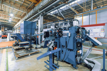 CNC Roller forming machine. The interior of the plant producing a metal profile.