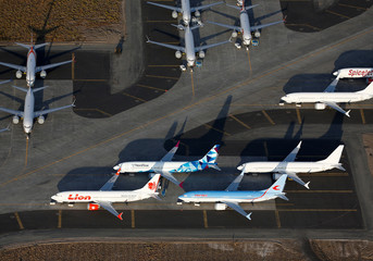 An aerial photo shows Boeing 737 MAX aircraft, including Lion Air, NordStar and Neos-branded airplanes at Boeing facilities at the Grant County International Airport in Moses Lake