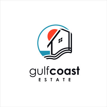 coastal property logo simple line colorful modern circle design idea for housing company