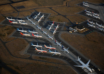 An aerial photo shows Boeing 737 MAX aircraft and a Boeing 787 aircraft at right at Boeing facilities at the Grant County International Airport in Moses Lake