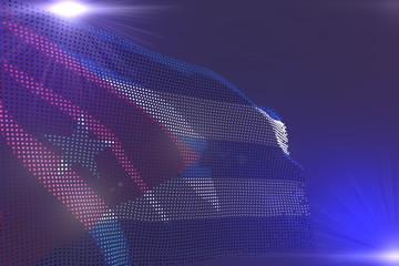 wonderful hi-tech bright picture of Cuba flag made of dots waving on purple with space for content - any celebration flag 3d illustration..
