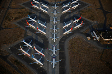 An aerial photo shows Boeing 737 MAX aircraft at Boeing facilities at the Grant County International Airport in Moses Lake