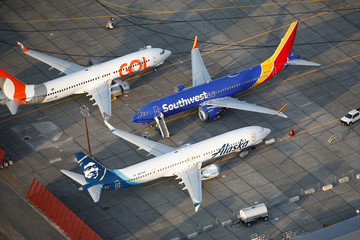 An aerial photo shows Gol Airlines, Southwest Airlines and Alaska Airlines Boeing 737 MAX aircraft at Boeing facilities at the Grant County International Airport in Moses Lake