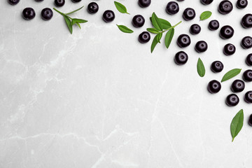 Fototapete - Fresh acai berries with leaves on light stone table, flat lay. Space for text