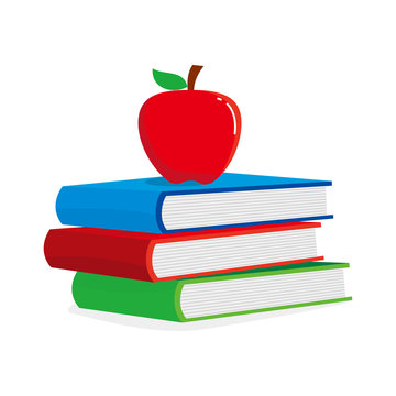 Stacked books and an apple vector illustration isolated on white background. Books and apple clip art