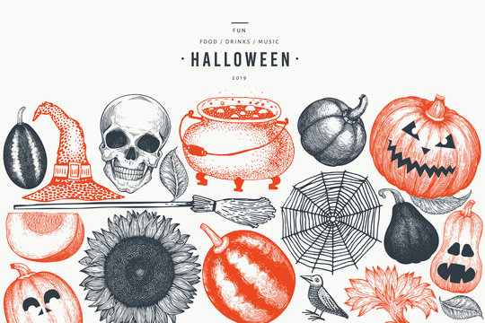 Halloween banner template. Vector hand drawn illustrations. Design with pumpkins, scull, cauldron and sunflower retro style. Autumn background.