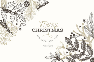 Christmas banner template. Vector hand drawn illustrations. Greeting card design in retro style. Winter background