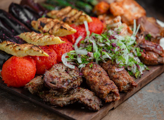 Canvas Prints Meat azerbaijani lyulya kebab with potatoes and vegetables