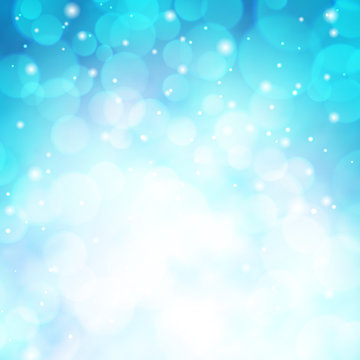 Beautiful blurred blue background with bokeh. Winter sky with snowfall glitter lights backdrop. Merry Xmas and Happy New Year. Abstract defocused wallpaper vector illustration. Festive luminous design