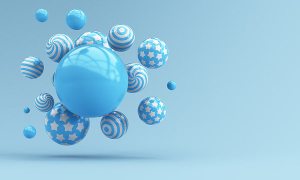 Flying blue spheres on a blue background. 3d render illustration for advertising.