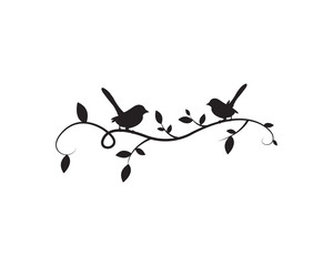Birds On Branch Silhouette Vector, Wall Decals, Wall artwork, Birds on Tree Design, Birds Silhouette. Art Design, Wall Design Isolated on white background, minimalist poster design