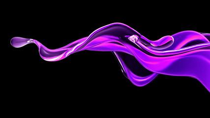 Splash fluid. 3d illustration, 3d rendering.