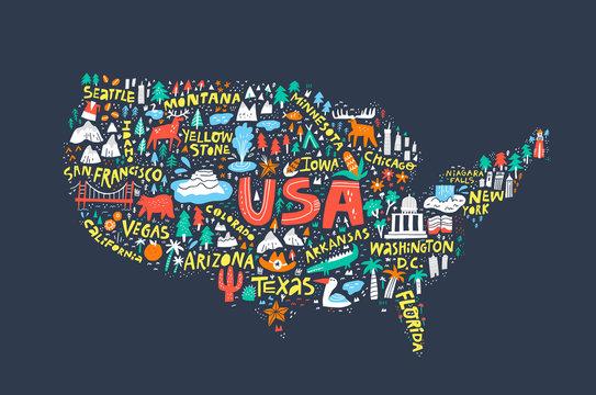 USA map on dark blue background flat illustration