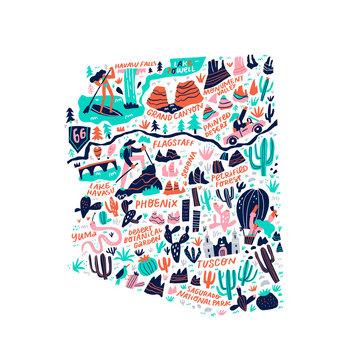 Arizona map flat hand drawn vector illustration