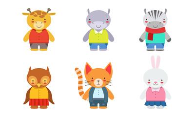 Fotomurales - Cute Baby Animals Set, Giraffe, Hippo, Zebra, Owlet, Kitten, Bunny Vector Illustration