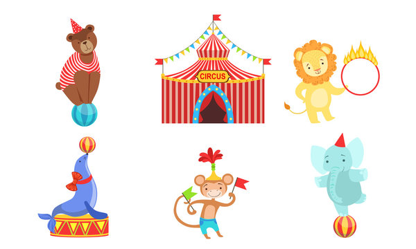 Circus Performers Characters Set, Marquee, Circus Animals, Lion, Bear, Monkey, Elephant Vector Illustration