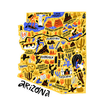Arizona yellow map flat hand drawn vector illustration