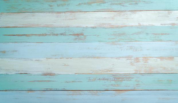 vintage beach wood background - old blue color wooden plank