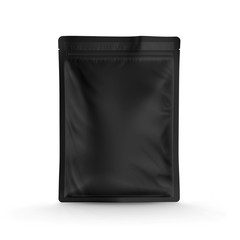 Black foil food pack stand up pouch bag packaging with zipper mock up, 3d illustration