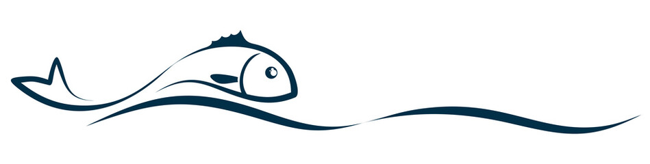 Symbol of a stylized sea fish with wave.