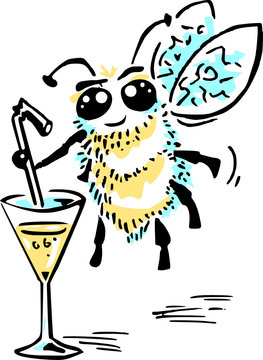 Bee drinking a cocktail - vector illustration