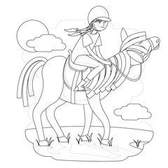 contour illustration for children with a picture of a girl riding a horse, a book for coloring