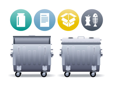 Two large metal street containers in open and closed forms for separate collection of garbage with waste types icons.