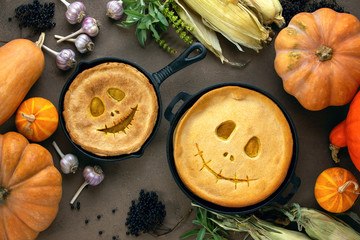 Halloween party home baked pumpkin pies