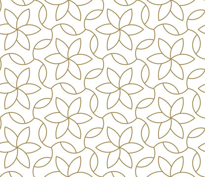 Seamless pattern with abstract geometric line texture, gold on white background. Light modern simple wallpaper, bright tile backdrop, monochrome graphic element