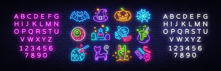 Halloween neon icons set. Happy Halloween collection neon signs. Bright sign boards, light banner. Modern trend design, night light signboard, emblems, design template. Vector Illustration