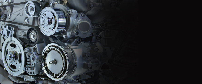 The powerful engine of a car. Internal design of engine for copy space, black and white