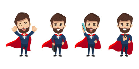 Businessman character in super hero concept with red cover.