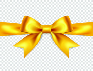 Beautiful yellow bow isolated on transparent background, satin bow for gift, surprise, christmas present, birthday. 3D. Vector EPS10