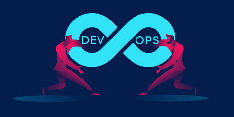 Devops concept business illustration in red and blue neon gradients