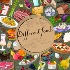 Food background, different dishes, vintage vector