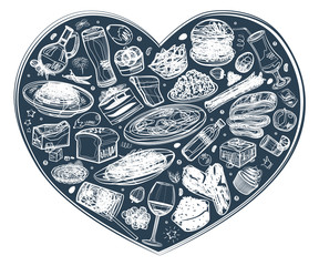 Food in the heart, white outline background, vector illustration