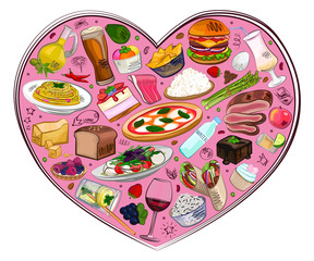 Food in the heart, different dishes, food set, watercolor vector illustration