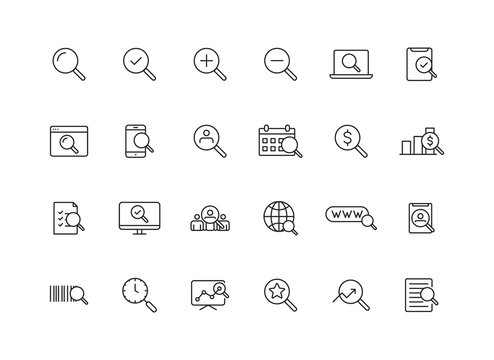 Set of 24 Search web icons in line style. SEO analytics, Digital marketing data analysis, Employee Management. Vector illustration.