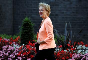 Britain's Business Secretary Leadsom walks outside 10 Downing Street in London